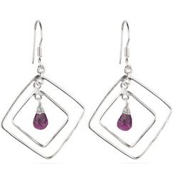 Amethyst Briolette Earrings in Sterling Silver