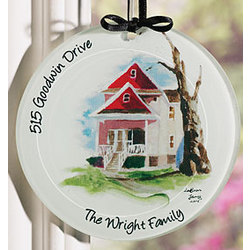 Haind Painted Glass House Ornament