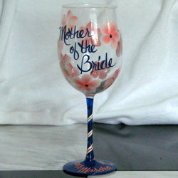 Floral Wine Glass for Mother of the Bride or Groom