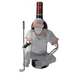Handmade Recycled Metal Golfer Lining Up The Put Wine Caddy
