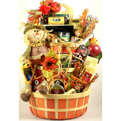 Smiling Scarecrow Deluxe Thanksgiving Gift Basket