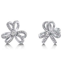 Cubic Zirconia Sterling Silver Flower Tie Stud Earrings