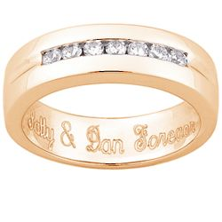 Men's Engraved Cubic Zirconia Wedding Band