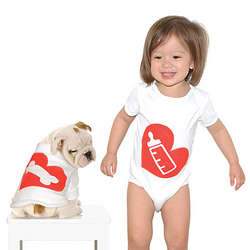 Bottle and Bone Babysuit and Dog Suit Set