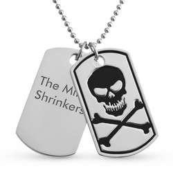 Skull and Crossbones Vertical Double Dog Tag