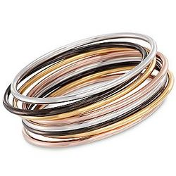 Multicolored Sterling Silver Bangle Bracelet Set