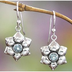 Narcissus of December Blue Topaz Flower Earrings