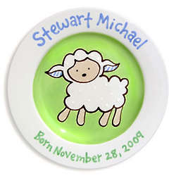 Boy's Loveable Lamb Personalized Ceramic Plate