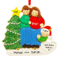 Expecting Couple with Child Personalized Ornament