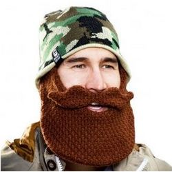 Camo Hat with Crochet Brown Beard
