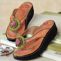Hand Painted Leather Flower Sandals