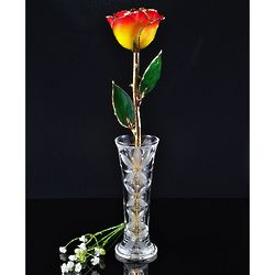 24K Gold-Trimmed Yellow and Red Tip Rose with Crystal Vase