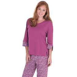 Women's Raspberry Cotton Jersey Leopard Lounge Pajamas