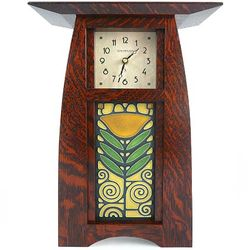 Arts and Crafts Mantel Clock with Poppy Tile