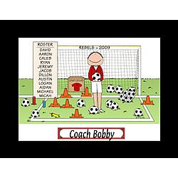 Personalized Soccer Coach Cartoon with Player Roster