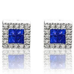 14K White Gold Princess Sapphire Diamond Button Earrings