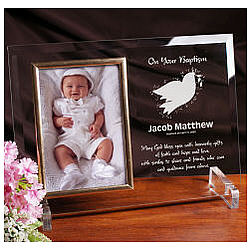 For My Baptism Beveled Glass Picture Frame