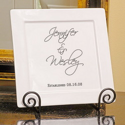 Personalized Scriptina Porcelain Square Platter and Easel Set