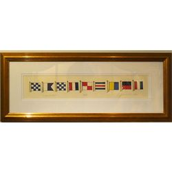 Nantucket Signal Flags Framed Watercolor Painting