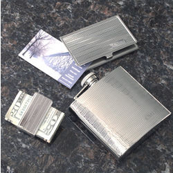 Business Card, Money Clip and Flask Gift Set