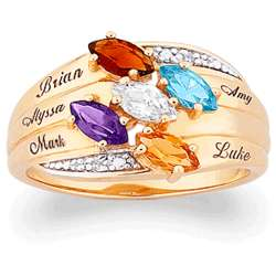 Family Name and Marquise Birthstone Ring with Diamond Accent