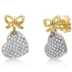 Gold Over Sterling Vermeil Heart Ribbon Dangle Earrings