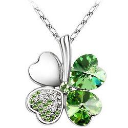 Four Leaf Clover Crystal Necklace