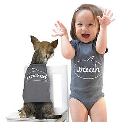 Waah and Woof Babysuit and Dog Suit Set