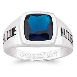 Men's Sterling Silver Cushion-Cut Stone Class Ring