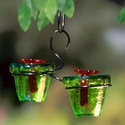 Green Glass Flower Pot Hummingbird Feeder