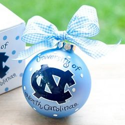University of North Carolina Logo Glass Ornament
