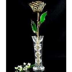 24K Gold-Trimmed Zebra Rose with Crystal Vase