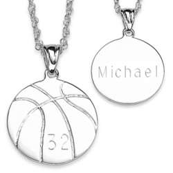 Sterling Silver Engraved Basketball Pendant