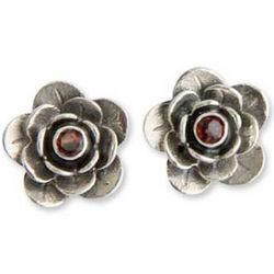 Camellia Garnet Flower Earrings