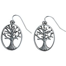 Pewter Tree of Life Hook Earrings