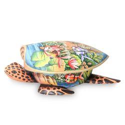 Sea Turtle Crocodile Wood Jewelry Box