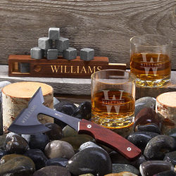 Personalized Axe & Whiskey Gift Set