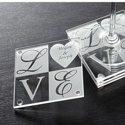 Personalized Love Glass Coaster