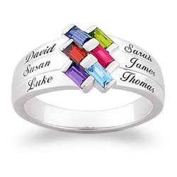 Personalized Family Baguette Birthstone and Name Ring