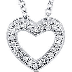Cubic Zirconia Sterling Silver Heart Pendant Necklace