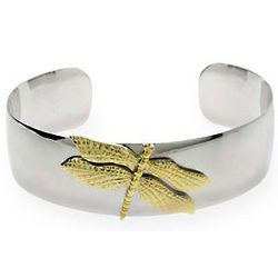 Tiffany Inspired Silver and Gold Dragonfly Cuff Bracelet