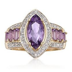 1.90 Carat Purple Amethyst with Diamond Accents Ring