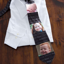 His Little Ones 3 Photo Personalized Men's Tie