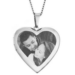 Polished Heart Picture Locket Necklace