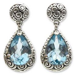 Azure Teardrops Blue Topaz Dangle Earrings