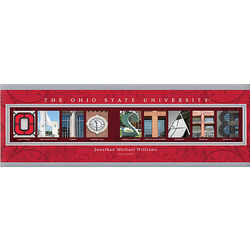 Ohio State Personalized College Campus Photo Letter Canvas