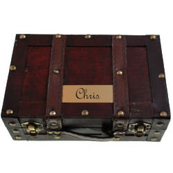 Personalized Treasure Chest Wood Case
