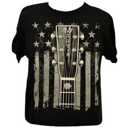 Martin Headstock and Flag Black T-Shirt