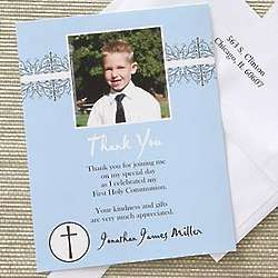 Boy's First Communion Customized Photo Thank You Cards
