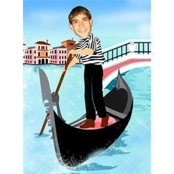 Your Photo in a Riding in a Gondola Caricature